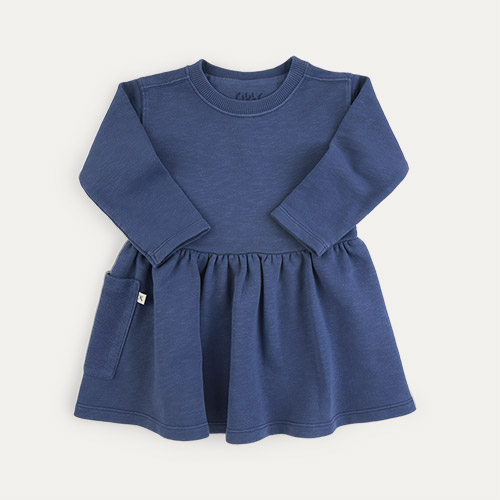 Navy KIDLY Label Organic Sweatshirt Dress