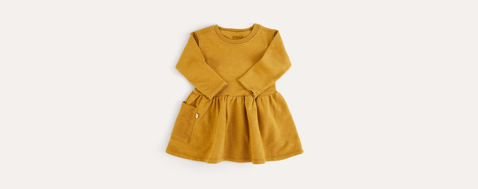 Light Mustard KIDLY Label Organic Sweatshirt Dress