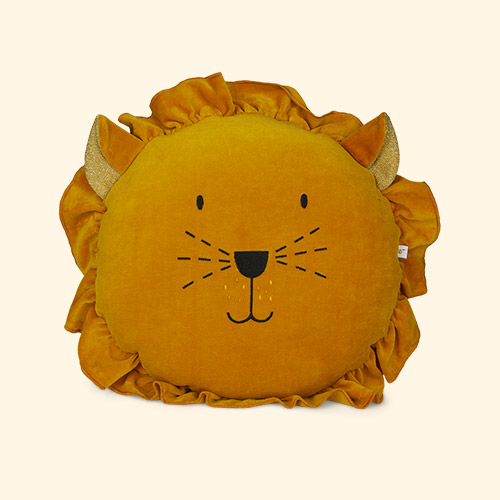 Mustard wigiwama Lion Cushion