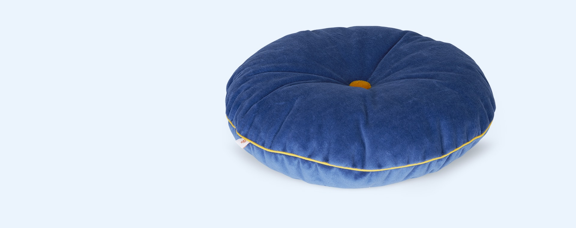 Deep Blue/Mustard wigiwama Round Button Cushion