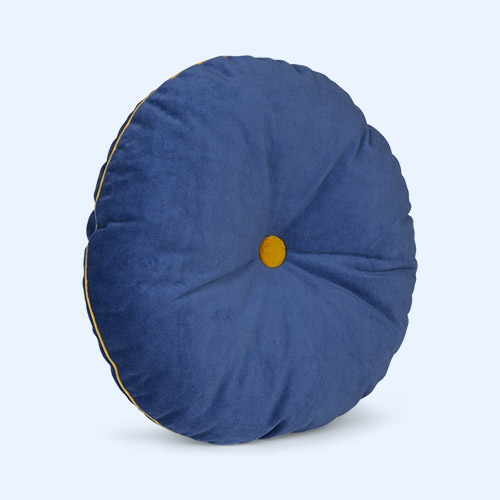 Deep Blue/Mustard wigiwama Round Button Cushion