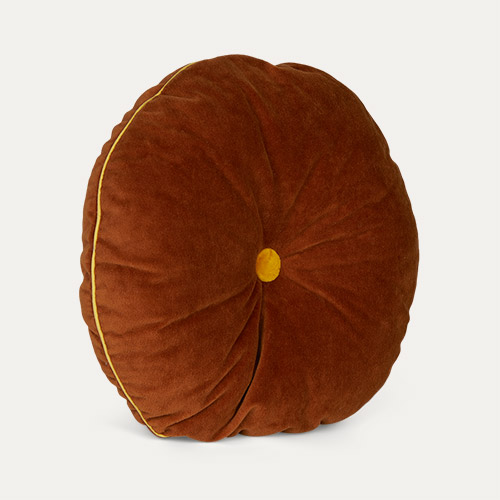 Cinnamon/Mustard wigiwama Round Button Cushion