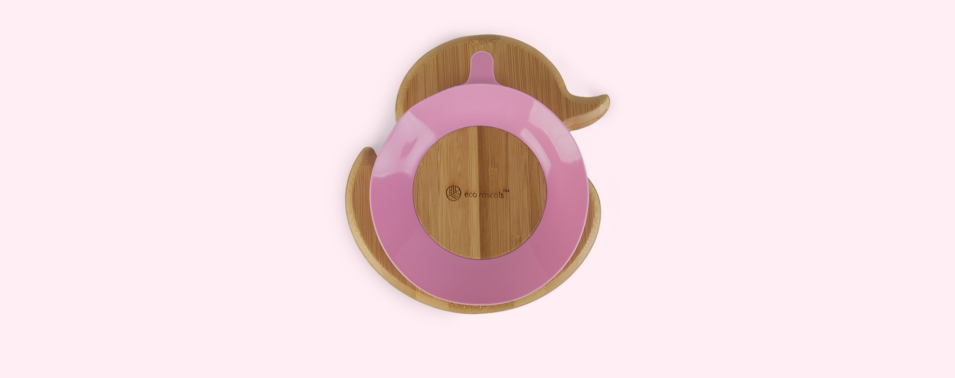 Pink eco rascals Bamboo Suction Duck Plate