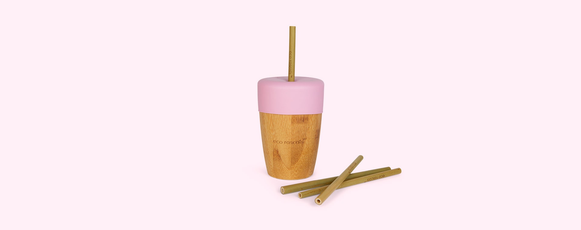 Pink eco rascals Bamboo Suction Toddler Tableware Set