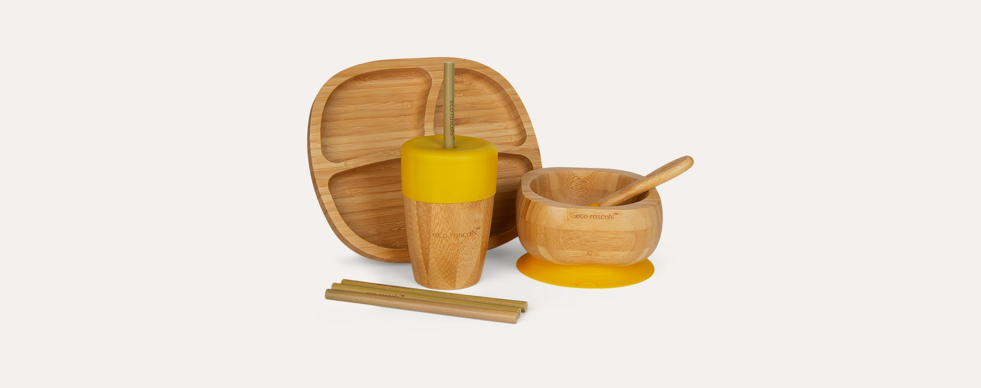 Yellow eco rascals Bamboo Suction Toddler Tableware Set