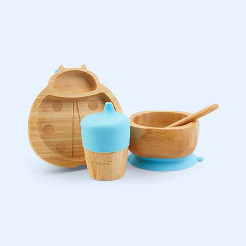 Blue eco rascals Bamboo Suction Ladybird Tableware Set