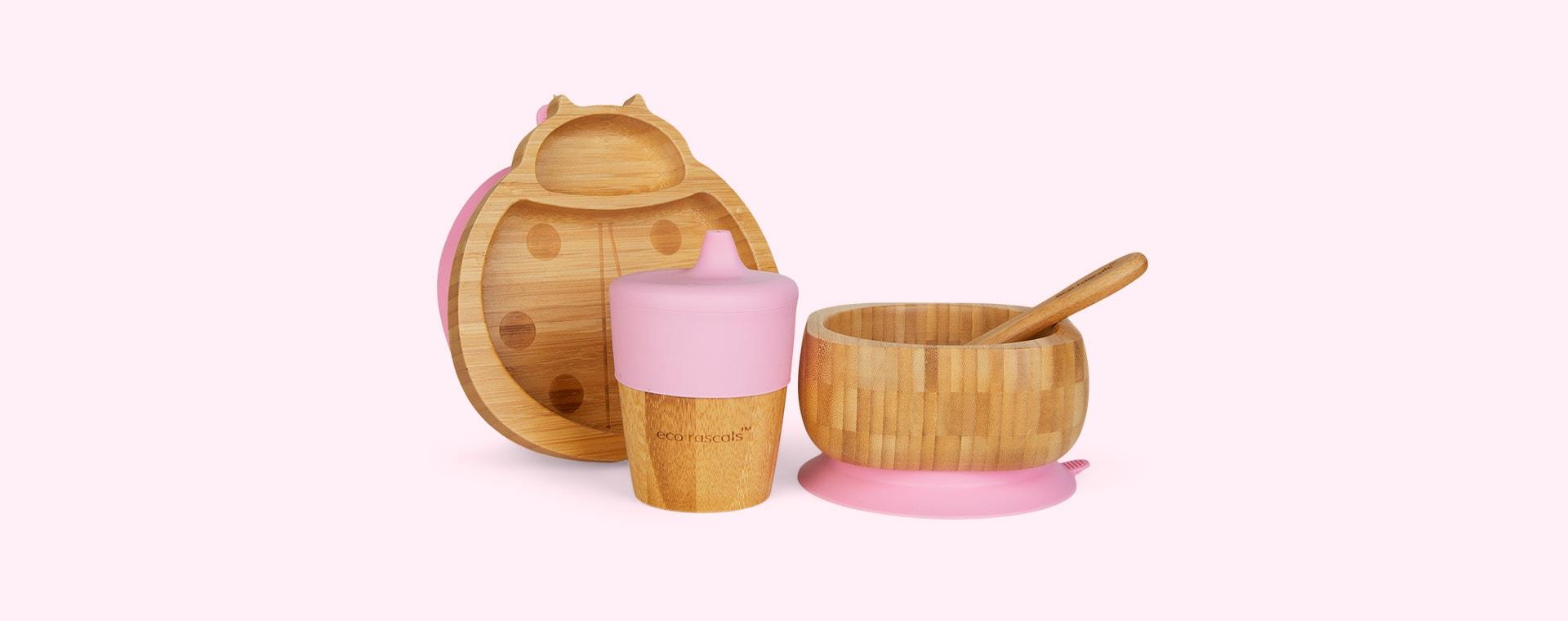 Pink eco rascals Bamboo Suction Ladybird Tableware Set
