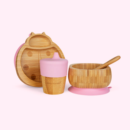 Pink eco rascals Ladybird Tableware Set
