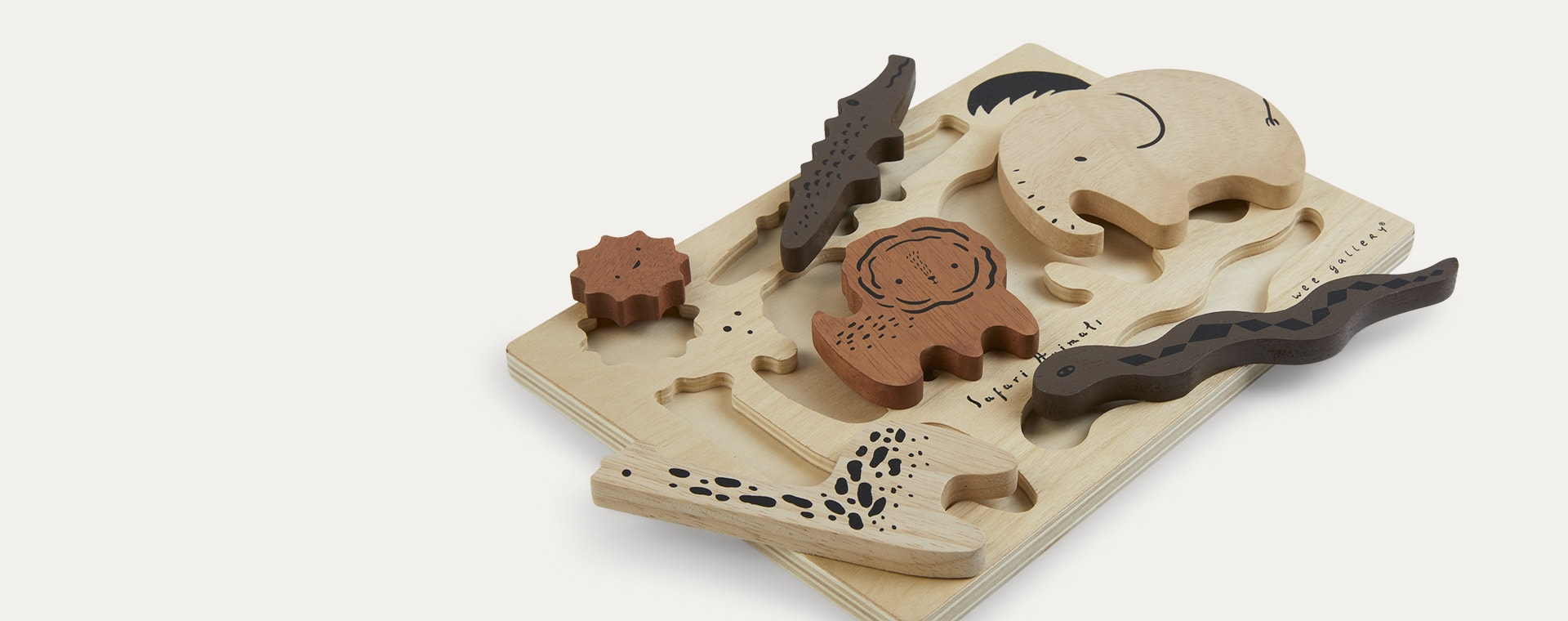 Safari Animals Wee Gallery Wooden Tray Puzzle