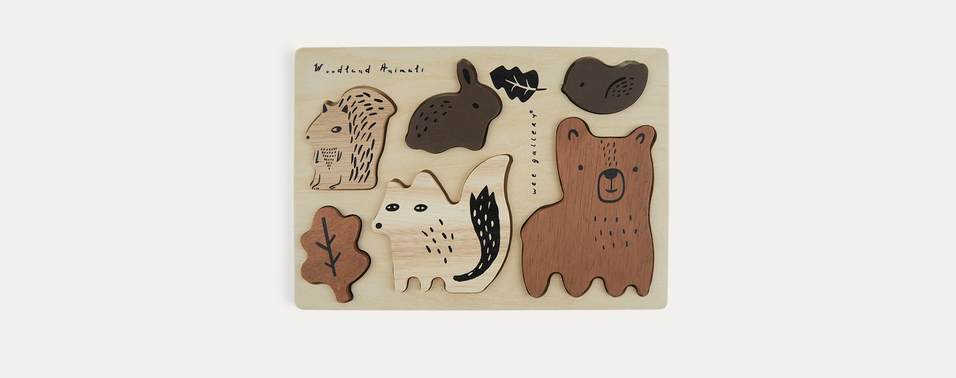 Woodland Animals Wee Gallery Wooden Tray Puzzle