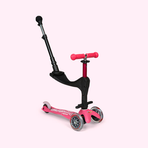 Pink Micro Scooters 3 in 1 Deluxe Push Along Scooter