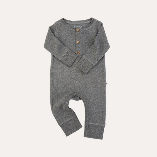 Mid Grey Marl KIDLY Label Organic Waffle All-In-One