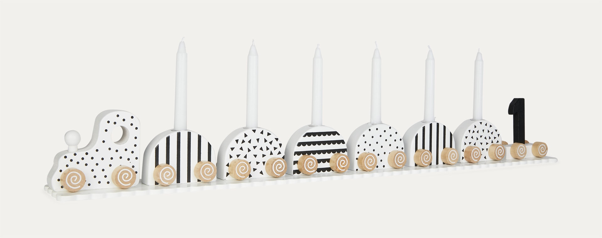 Black & White Jabadabado Candlestick Birthday Train