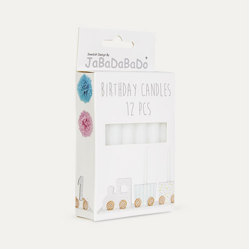 White Jabadabado Birthday Candles