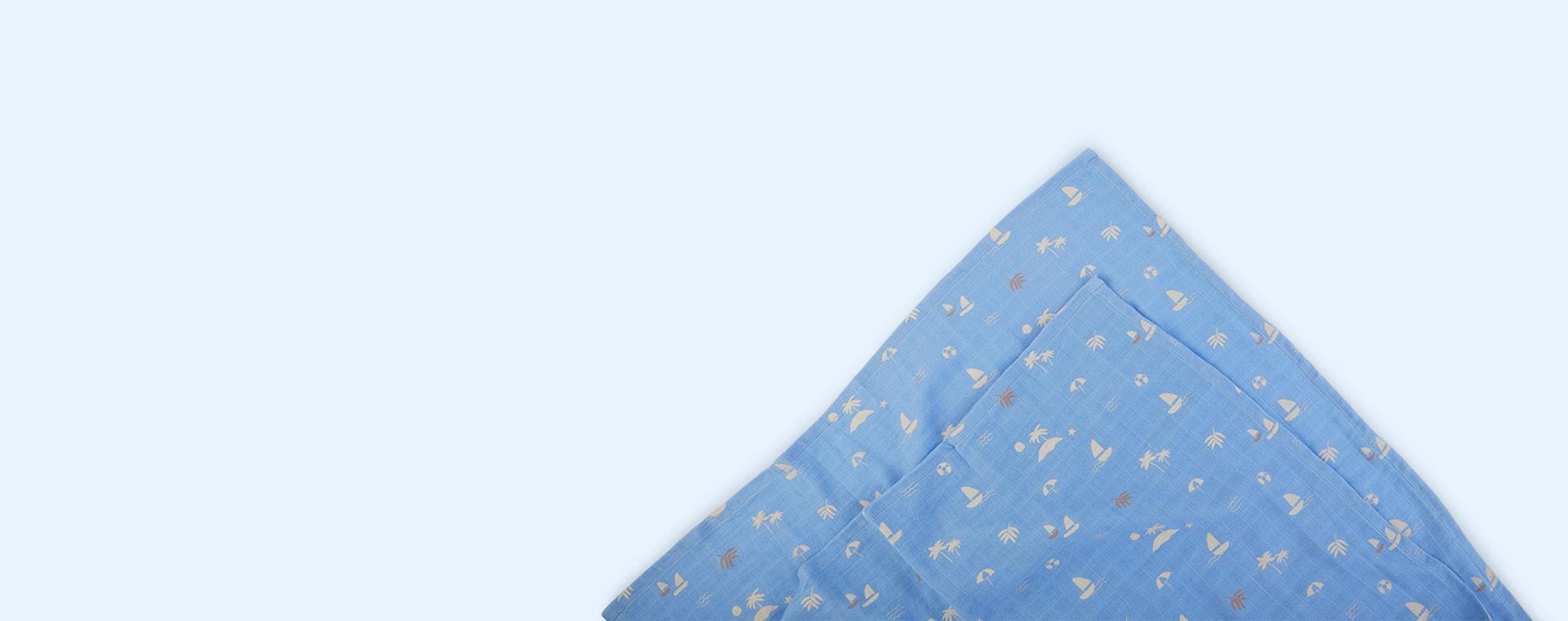 Seaside Sky Blue Liewood 2-Pack Lewis Muslin Cloth
