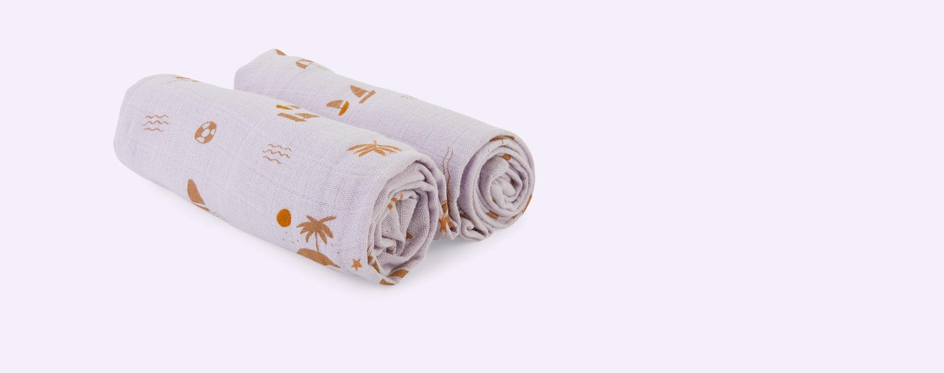Seaside Light Lavender Liewood 2-Pack Lewis Muslin Cloth