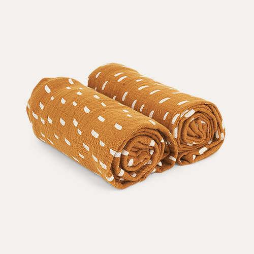 Graphic Stroke/Golden Caramel Liewood 2-Pack Lewis Muslin Cloth