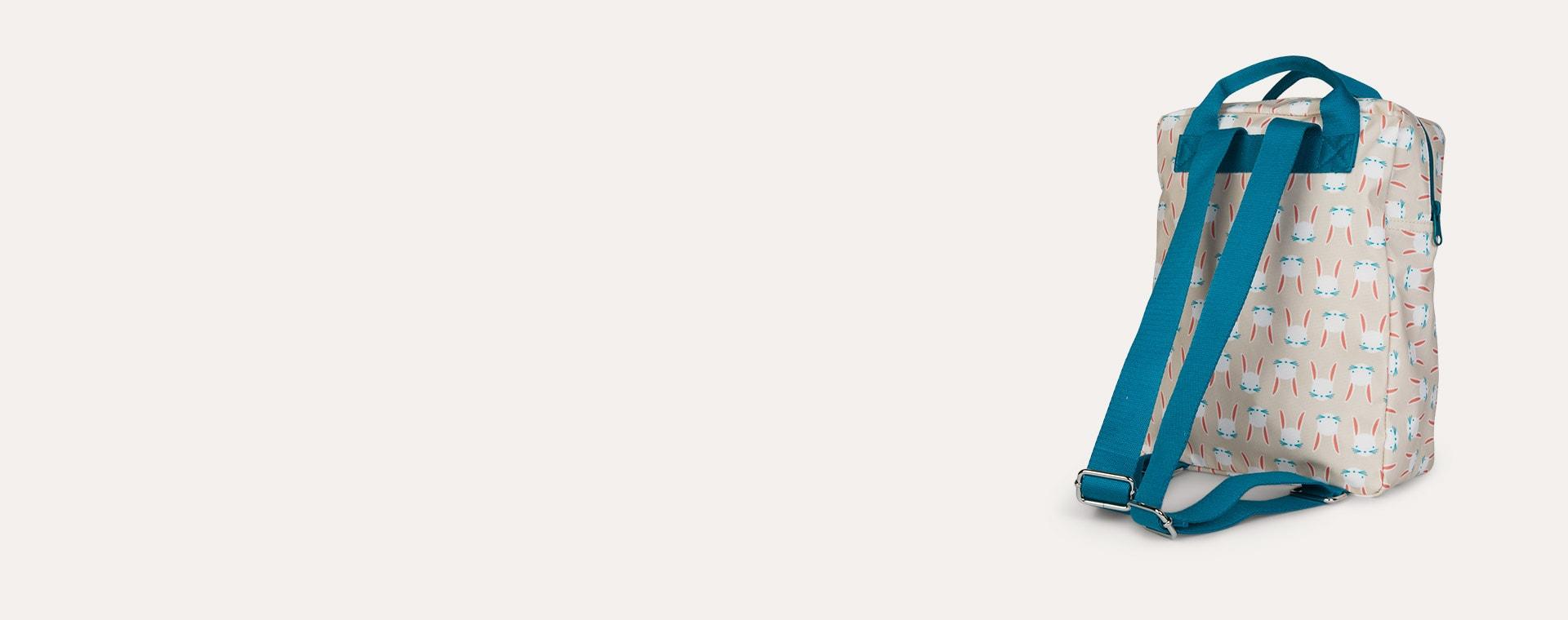 Beige -Pink-petrol Engel Backpack Medium Bunny