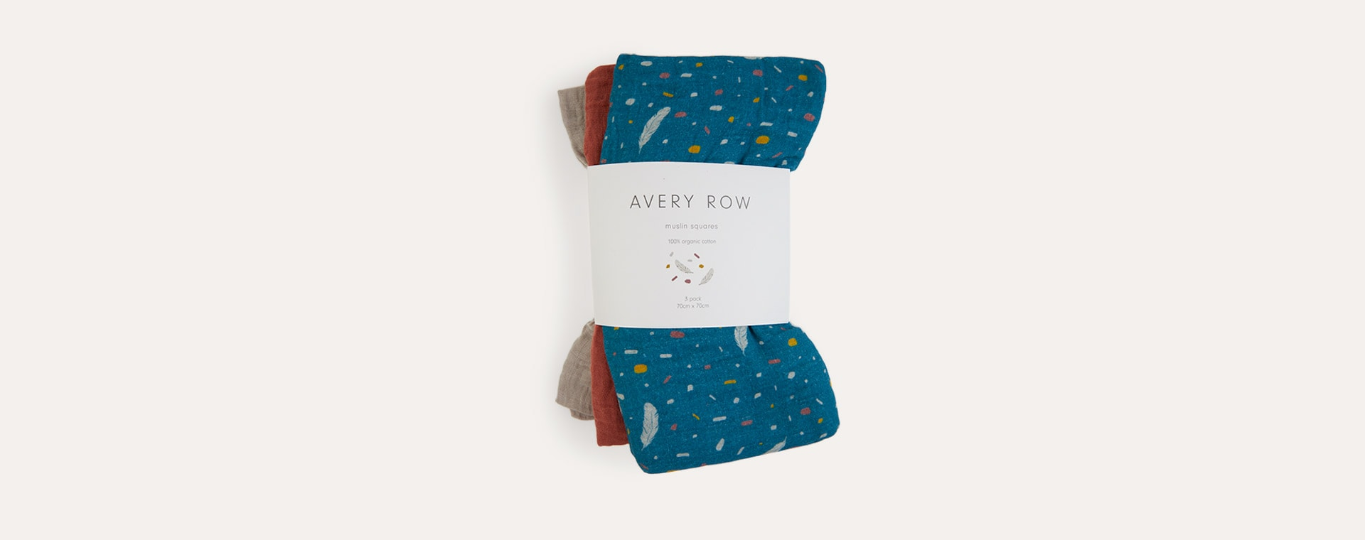 Feathers Avery Row Muslin Squares Pack of 3