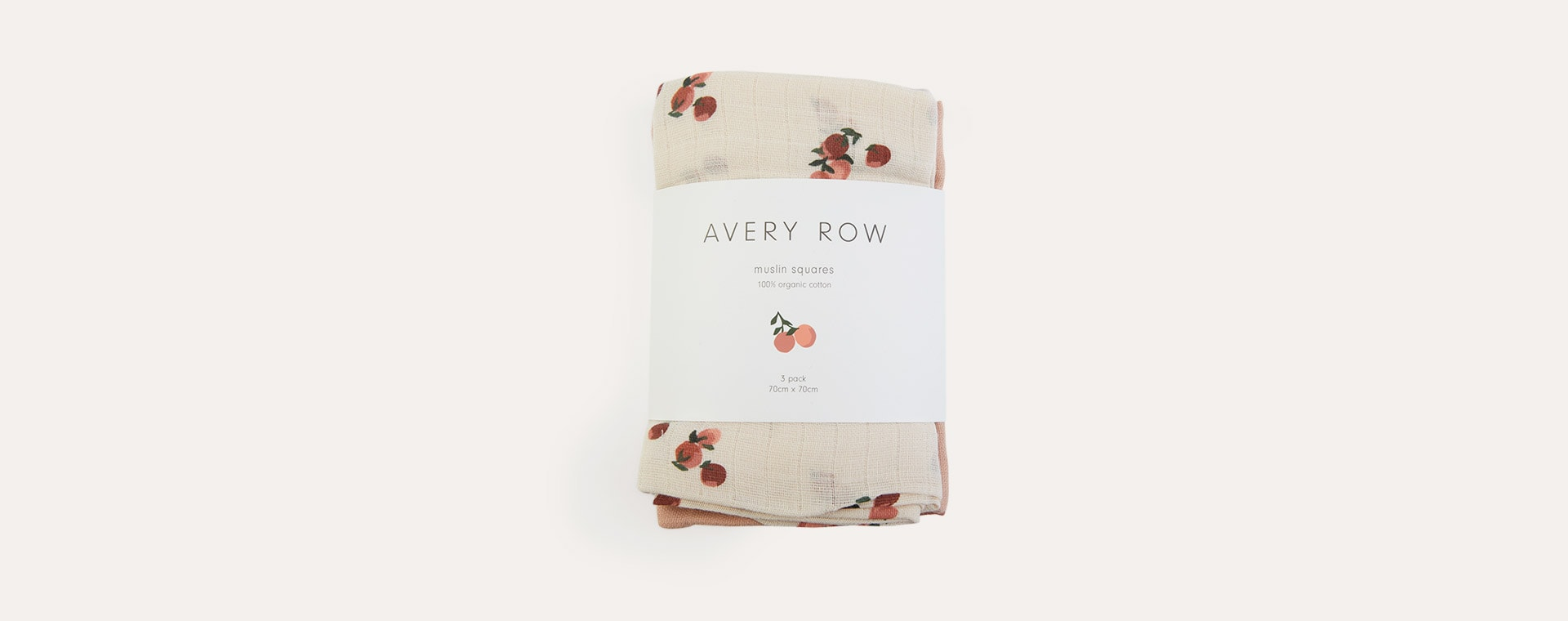 Peaches Avery Row 3-Pack Muslin Squares