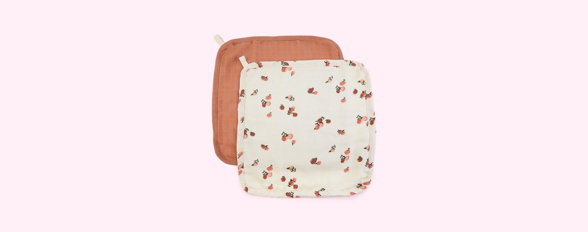 Peaches Avery Row 2-Pack Muslin Washcloths