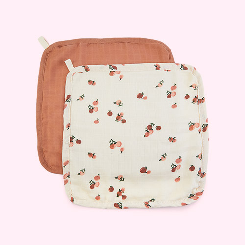 Peaches Avery Row 2-Pack Muslin Washcloths