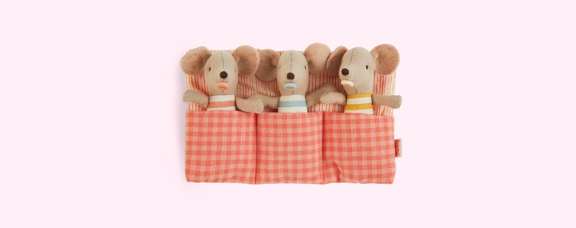 Red Maileg Baby Mice, Triplets in Matchbox