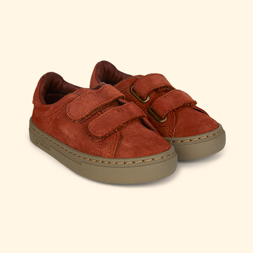 Orange Natural World Velcro Suede Trainer