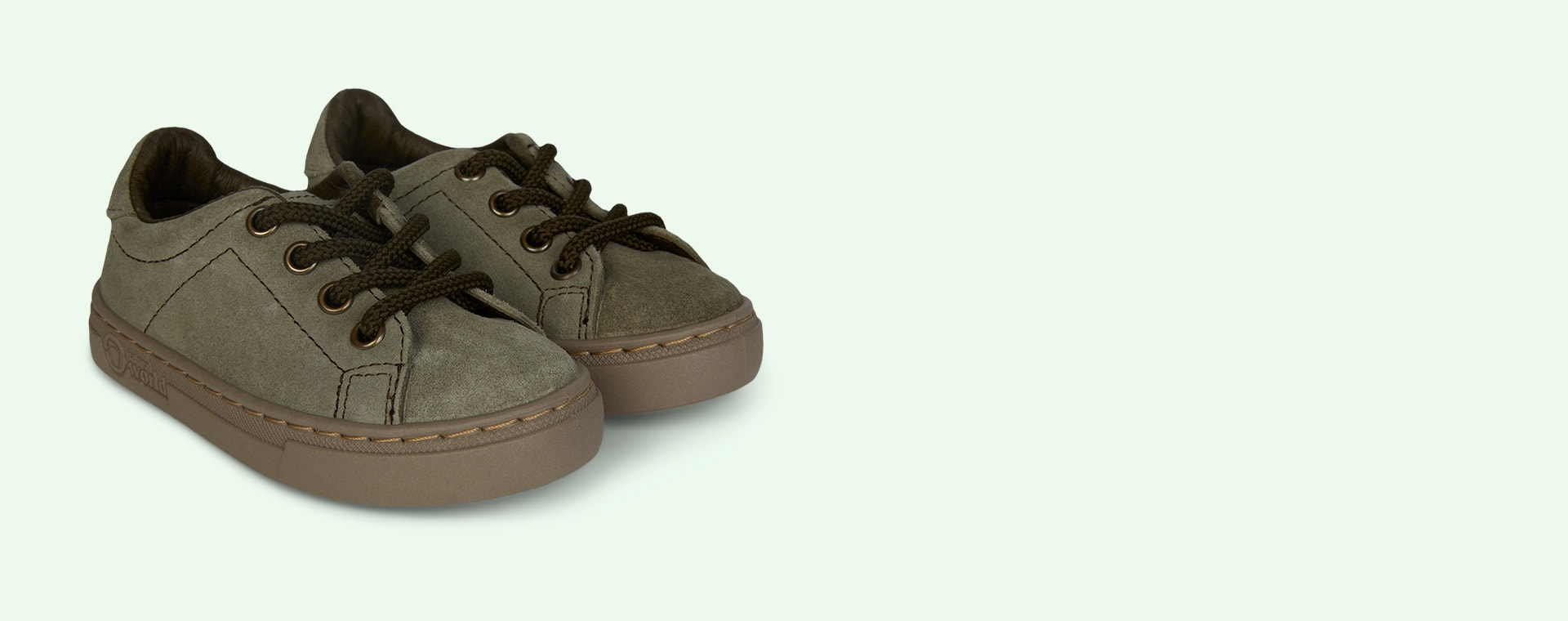 Light Khaki Natural World Lace-Up Suede  Trainer