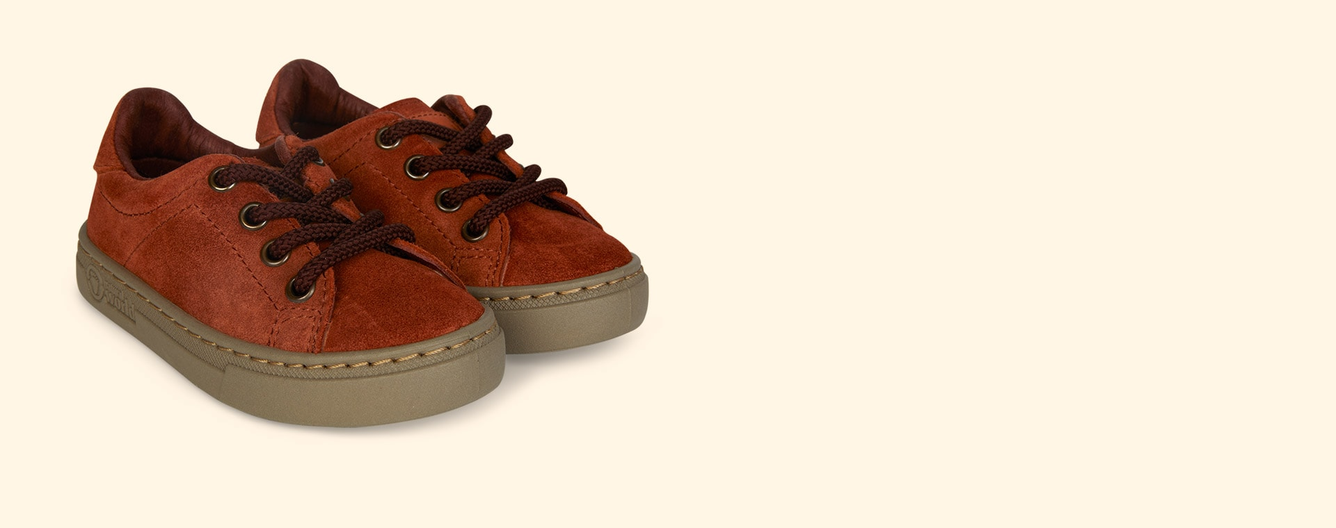 Orange Natural World Lace-Up Suede  Trainer