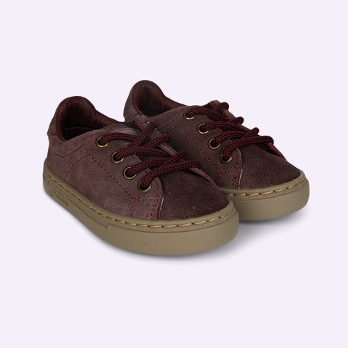 Purple Natural World Lace-Up Suede  Trainer