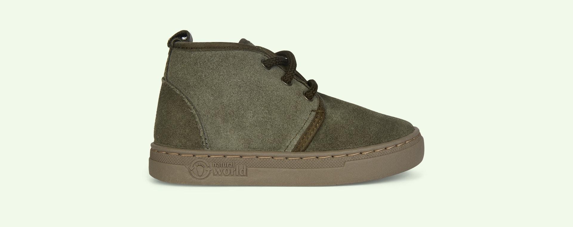 Light Khaki Natural World Lace-Up Suede Boot