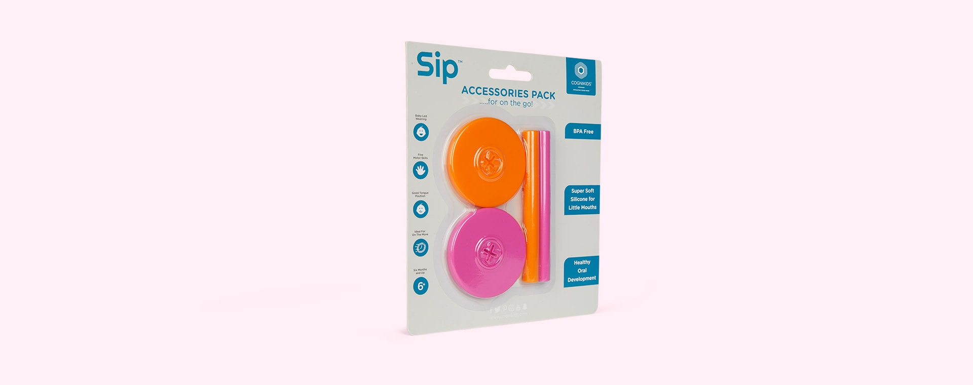 Flamingo/ Tangerine Cognikids Sip Accessory Pack