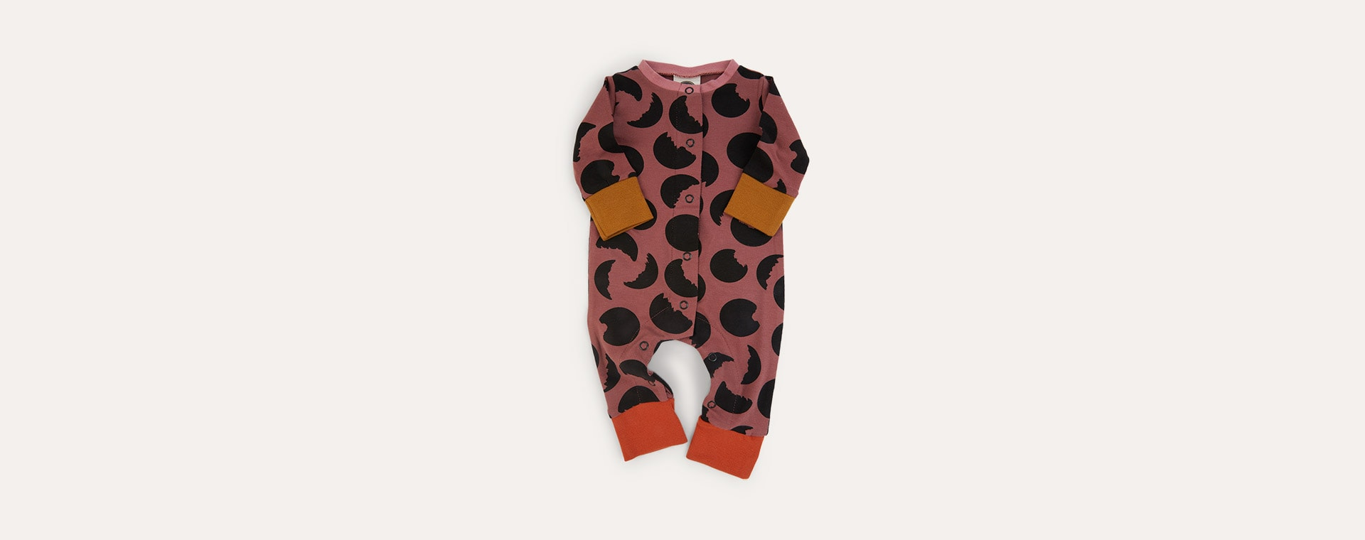 Apple Butter Moon Print The Bright Company Button Down Monty Sleepsuit