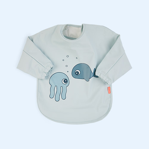 Sea Life Blue Done By Deer Sleeved Bib