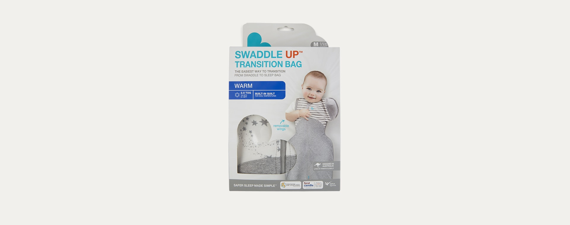 Moon Stars White Love To Dream Swaddle UP Warm 50/50 2.5 TOG Transition Sleeping Bag