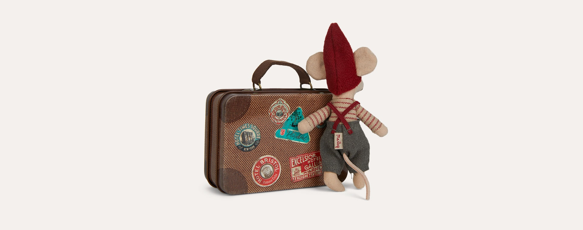 Little Brother Maileg Christmas Mouse in Suitcase