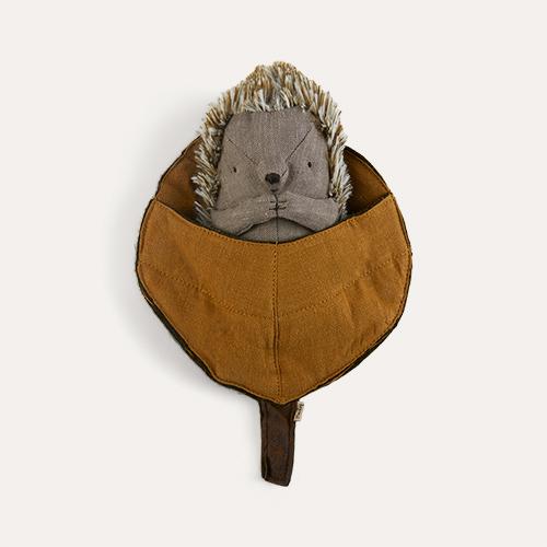 Brown Maileg Hedgehog in leaf