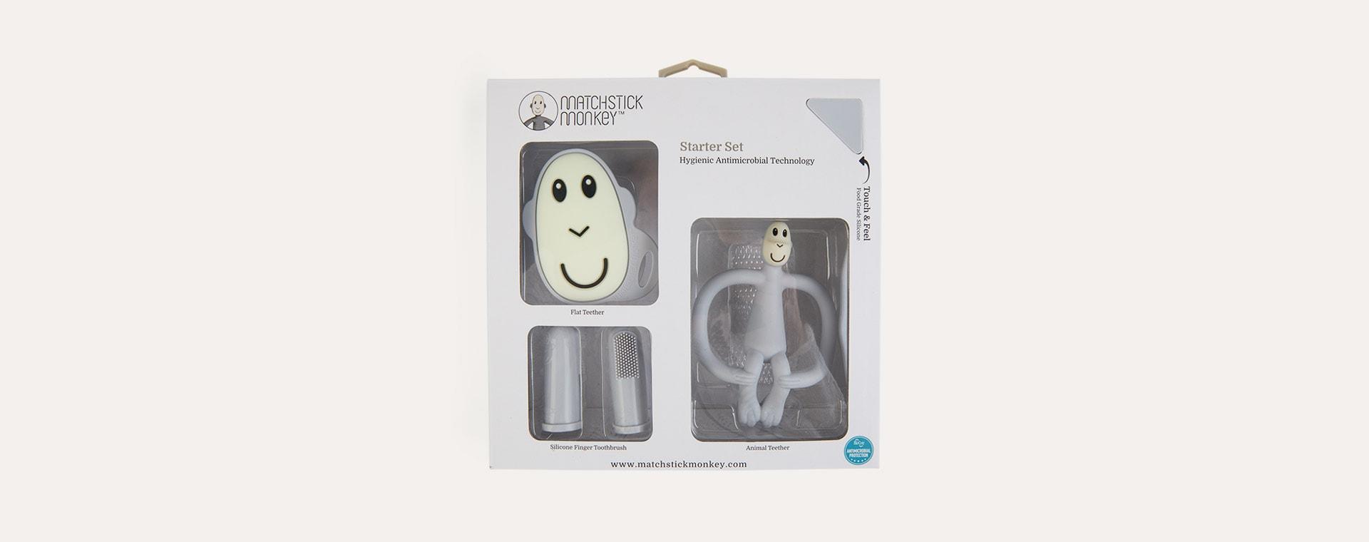 Cool Grey Matchstick Monkey Teething Starter Set