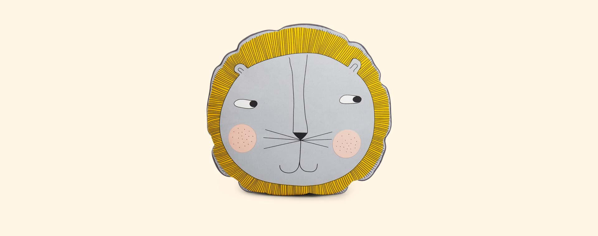 Yellow OYOY Lion Cushion