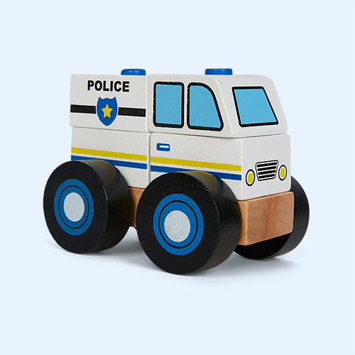 White Legler Toys Construction Vehicle Police Car