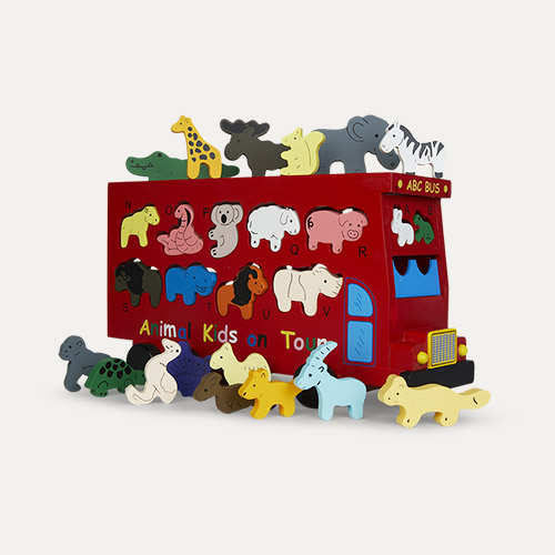 Red Legler Toys Shape Fitting Animal Bus
