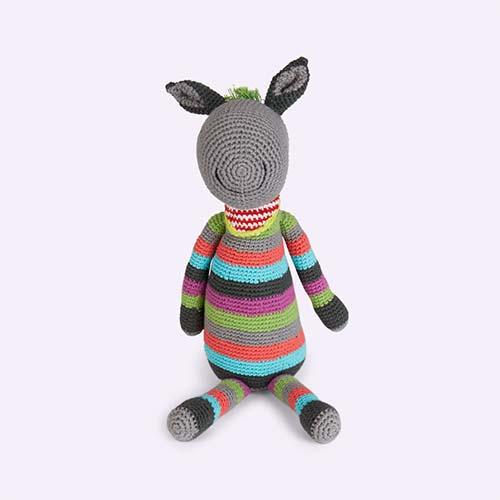 Multi Pebble Donkey Crochet Toy