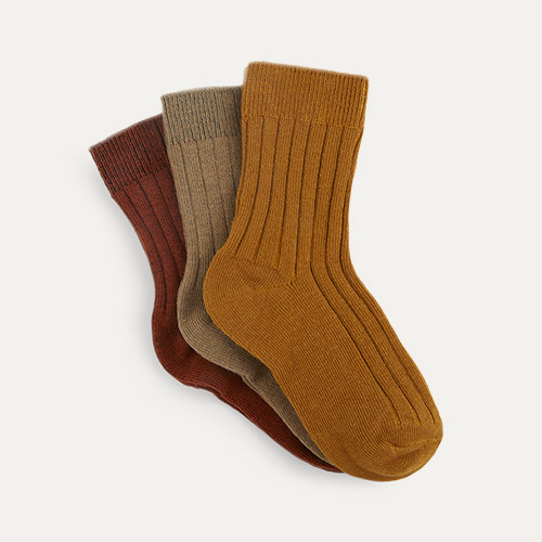 Mustard Mix KIDLY Label 3-Pack Socks