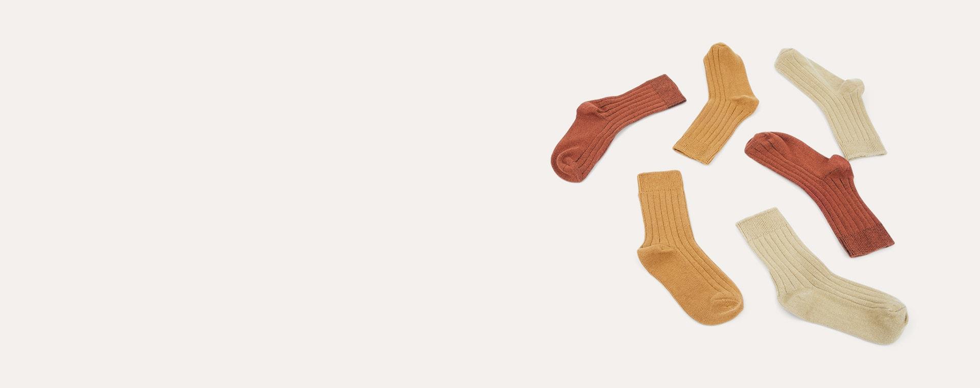 Ochre Mix KIDLY Label 3-Pack Socks