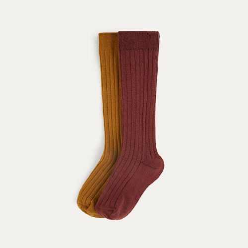 Mustard Mix KIDLY Label 2-Pack Long Socks