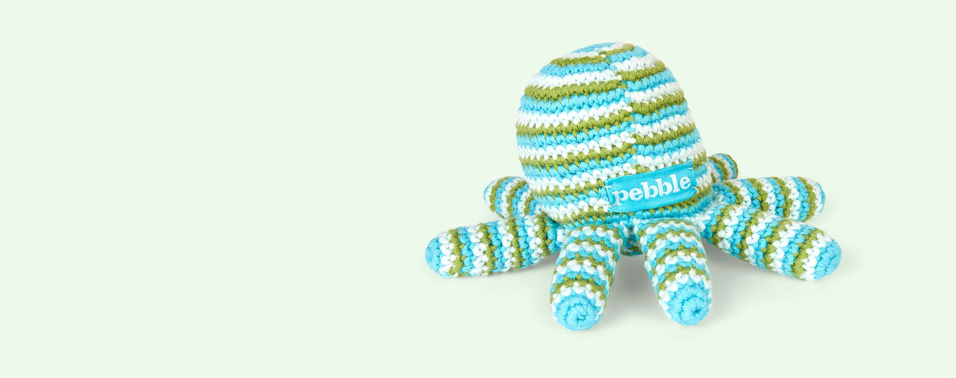 Turquoise Pebble Octopus Crochet Rattle