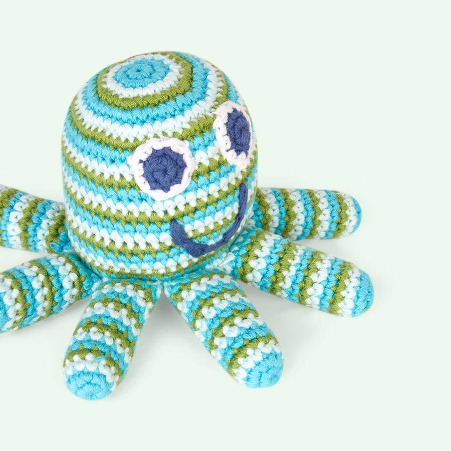 Turquoise Pebble Octopus Crochet Rattle