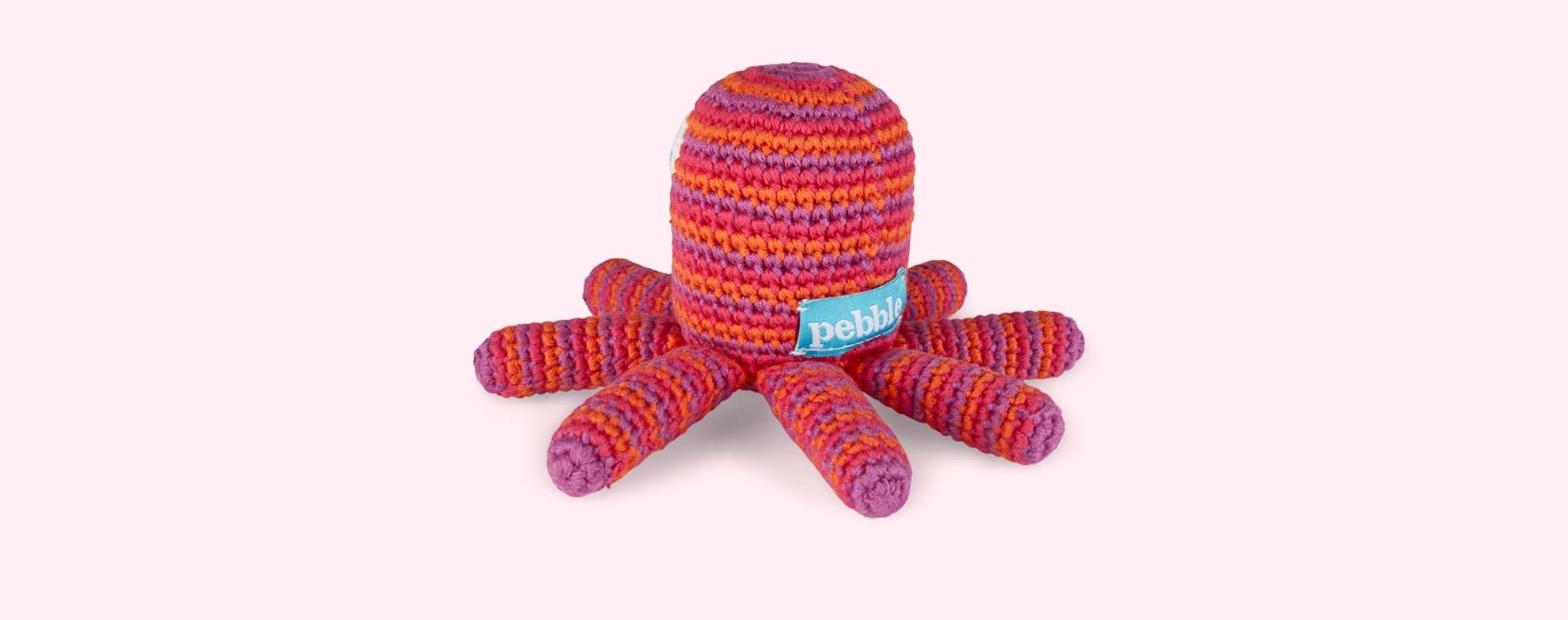 Pink Pebble Octopus Crochet Rattle