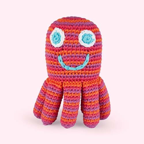 Pink Pebble Octopus Crochet Rattle